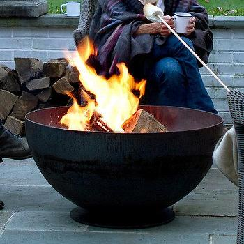 Decor/Accessories - Bowl Fire Pit I Terrain - bowl shaped fire pit, steel bowl shaped fire pit, footed steel fire pit,