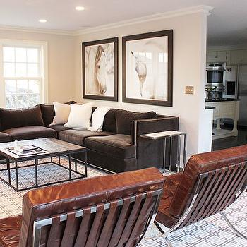 Brown Velvet Sectional, Contemporary, living room, Laura Tutun Interiors