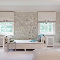 Laura Tutun Interiors - bedrooms: chinoiserie wallpaper, yellow and gray wallpaper, modern floral wallpaper, yellow and gray floral wallpaper, white and gray roman shade, greek key roman shade, bedroom chaise lounge, white chaise lounge, chinoiserie bedroom,