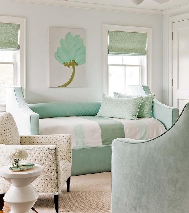 Mint green bedroom cottage bedroom eric roseff design for Sea green bedroom designs