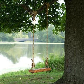 Miscellaneous - Reclaimed Floor Joist Tree Swing I Terrain - reclaimed wood tree swing, rustic wood tree swing, rope and wood tree swing, reclaimed wood and rope tree swing, traditional tree swing,