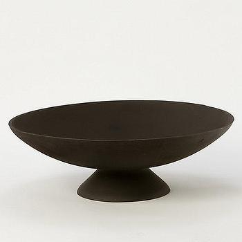 Decor/Accessories - Iron Fire Pit Bowl I Terrain - fire pit, bowl shaped fire pit, steel bowl shaped fire pit, round pedestal fire pit,
