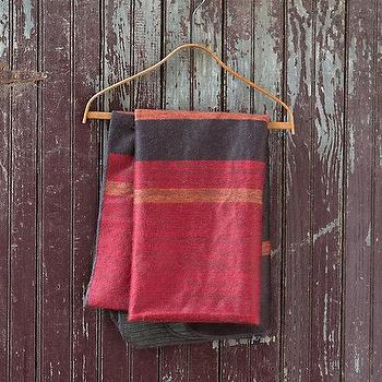 Decor/Accessories - Striped Alpaca Throw I Terrain - red and dark blue throw, red and dark blue alpaca throw, alpaca throw, red and blue color blocked alpaca throw,