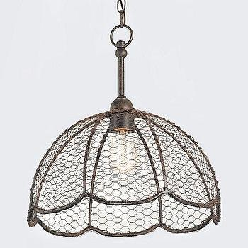 Lighting - Beehive Basket Lamp I Terrain - chicken wire pendant, chicken wire chandelier, vintage style wire pendant, chicken wire basket shaped pendant,