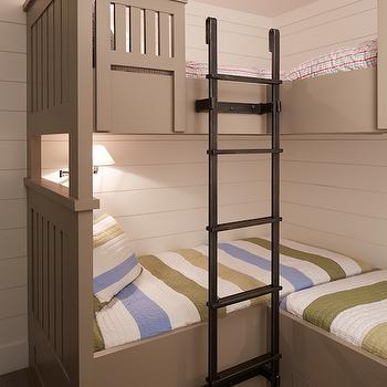 Artistic Designs for Living - boy's rooms - taupe bunk beds, taupe built-in bunk beds, bunk beds, bunk room, built-in bunk beds, bunk room, built-in bunks, storage bunk bed, l-shaped bunk beds, l-shaped bunks, built-in l-shaped bunk beds, corner bunk beds, built-in corner bunk beds, bunk bed storage drawers, hardwood floors, light hardwood floors, gray washed hardwood floors, striped bedding, blue white and green striped bedding, blue white and green striped duvet, bunk bed ladder, steel bunk bed ladder, iron bunk bed ladder, shiplap, shiplap paneled walls, shiplap paneling, wood paneled walls, wood paneling, wood planked walls, built in bunk beds, bunk bed ladder, built in bunk bed ladder, taupe bunk beds, stripe bedding, kids bedding,