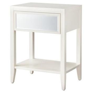 Tables - Threshold Accent Table with Mirrored Drawer I Target - white accent table with mirrored drawer, white mirror fronted accent table, white single drawer accent table with mirrored front, white accent table with mirrored drawer front,