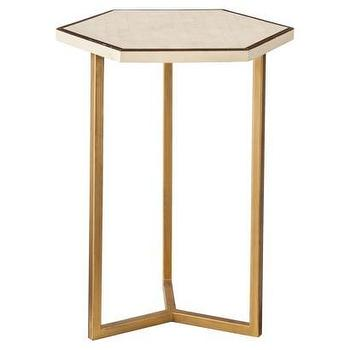 Tables - Threshold Faux Shell Inlay Hexagonal Accent Table I Target - gold based faux shell inlay accent table, hexagonal gold accent table with faux shell inlay top, faux shell inlaid hexagonal accent table with gold base,