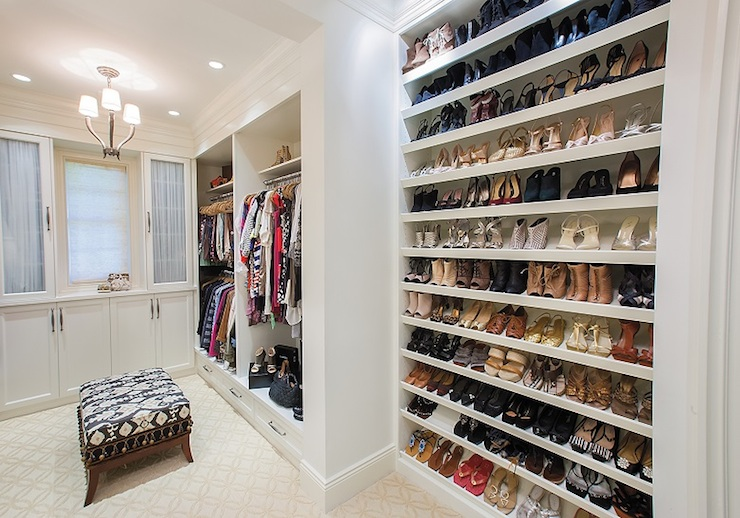 Built in closet cabinets with drawers - Full Wall Shoe Shelves Transitional Closet W Design
