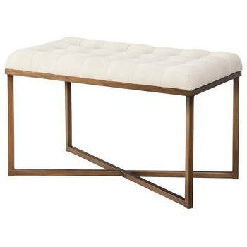 Seating - Threshold Tufted Bench - Cream and Gold I Target - cream tufted bench with gold base, gold bench with cream tufted seat, gold framed bench with cream tufting,
