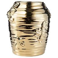 Decor/Accessories - Nate Berkus Stoneware Floral Motif Vase - Gold I Target - gold floral vase, metallic gold floral vase, metallic gold vase with floral motif,