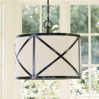 Lighting - Olsen Linen Drum Pendant | Pottery Barn - linen drum pendant with metal detail, drum pendant with metal frame, industrial drum pendant,