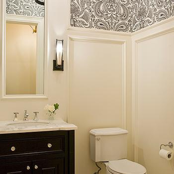 Black and White Damask Wallpaper, Traditional, bathroom, Austin Bean Design Studio