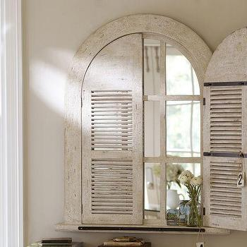 Mirrors - Arched Door Mirror | Pottery Barn - shuttered arched mirror, vintage style arched mirror, arched shutter mirror,