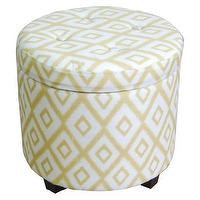 Seating - Threshold Round Tufted Storage Ottoman - Yellow I Target - yellow and white round storage ottoman, yellow and white geometric storage ottoman, round yellow and white geometric storage ottoman,