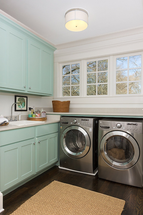 Turquoise Cabinets Contemporary Laundry Room