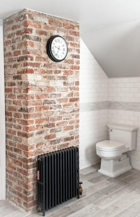 Wood like tile transitional bathroom cory connor design for Brick tile bathroom designs
