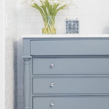 Cory Connor Design - bathrooms - gray blue walls, gray blue paint colors, gray blue vanity, gray blue washstand, carrera marble, carrera marble countertops, hex floor, white hex floor, subway tiles, subway tile backsplash,