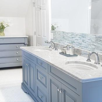 Cory Connor Design - bathrooms - blue gray walls, blue gray paint colors, blue gray vanity, blue gray washstand, carrera marble, carrera marble countertops, frameless mirror, linear glass tiles, blue and gray tiles, blue and gray glass tiles, blue and gray tile backsplash, hex floor, white hex floor,