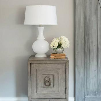 Cory Connor Design - bedrooms - gray walls, gray bedroom walls, gray paint colors, san antonio gray, indoor barn doors, barn door, gray barn door, bathroom barn door, salvaged wood chest, reclaimed wood chest, white glass lamp, Robert Abbey Harriet Glass Lamp,