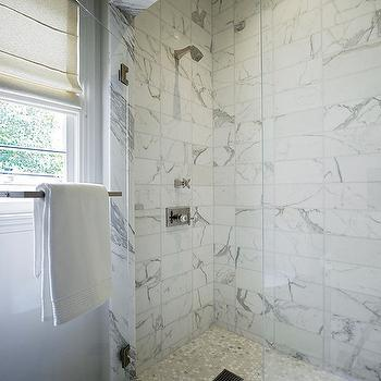 Kathleen Bost - bathrooms - walk in shower, walk in shower ideas, white and gray marble, white and gray marble shower surround, white and gray marble surround, carrera marble hex tiles, carrera marble hex floor, shower partition, glass shower partition,
