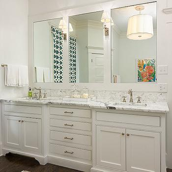 Colordrunk Design - bathrooms - master bathroom, roman shade, teal roman shade, white and teal roman shade, double vanity, double washstand, framed mirror, square sinks, his and her sinks, white double vanity, white double washstand,