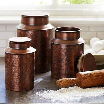 Decor/Accessories - Copper Canisters | Pottery Barn - copper canisters, copper kitchen canisters, hammered copper kitchen canisters,