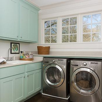 Colordrunk Design - laundry/mud rooms: turquoise cabinets, laundry room, light grey countertops, silver washer and dryer, laundry room cabinets,