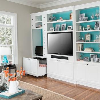 Cory Connor Design - living rooms: media cabinet, white media cabinet, painted back of shelves, tall media cabinet, media unit, revere pewter,