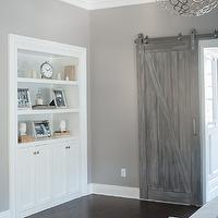 Cory Connor Design - bedrooms - gray walls, gray bedroom walls, gray paint colors, san antonio gray, indoor barn doors, barn door, gray barn door, bathroom barn door, bedroom built ins,