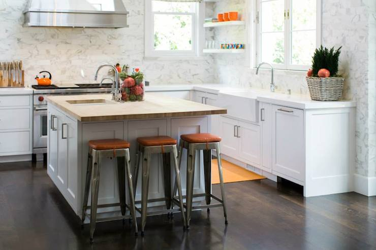 Orange accents transitional kitchen benjamin moore - Kitchen with orange accents ...