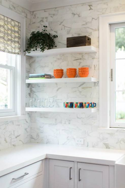Floating kitchen shelves transitional kitchen for Anderson kitchen cabinets