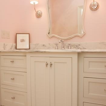 Twin Companies - bathrooms - kids bath, kids bathroom, girls bathroom, girls bathroom, ivory and pink bathroom, pink walls, pink bathroom walls, vendome sconce, cinderella mirror, kids bathroom mirror, girls bathroom mirror, extra wide vanity, extra wide washstand, ivory washstand, white marble countertop,