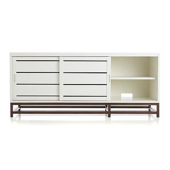 "Storage Furniture - Clapboard White 60"" Media Console I Crate and Barrel - clapboard media console, contemporary white media console, white media cabinet,"