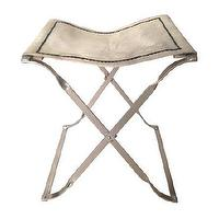 Seating - Hide Stool I Sara Kate Studios - hide stool, chrome based hide stool, chrome based x-stool, hide and chrome x-stool,