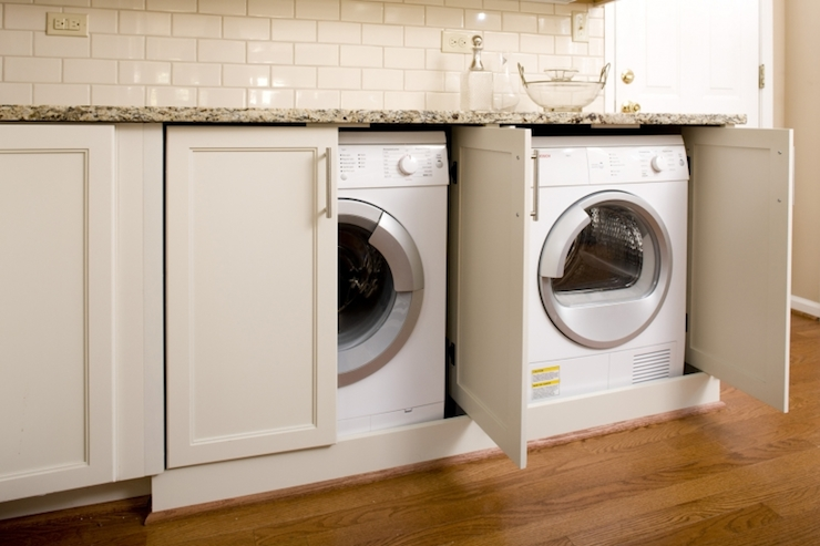 Hidden Washer And Dryer Transitional Laundry Room