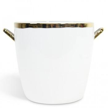 Decor/Accessories - Gold Glazed Ice Bucket I Shop HDB - white ice bucket with gold trim, white ice bucket with gold glaze, white porcelain ice bucket with gold trim,