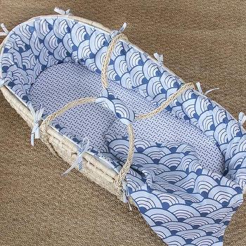Miscellaneous - Wave Castle Moses Basket I Annette Tatum Kids - moses basket, blue moses basket, blue and white geometric moses basket,
