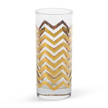 Decor/Accessories - Tabletop Decorations - Golden Chevron Highball Glasses - chevron glass, gold chevron glass