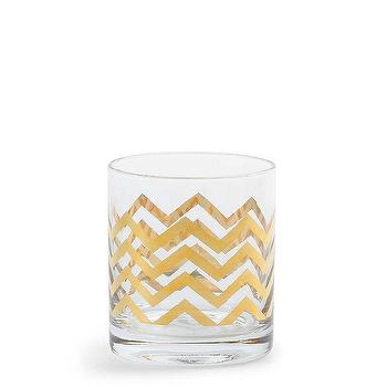 Decor/Accessories - Tabletop Decorations - Golden Chevron DOF Glasses - chevron glass, gold chevron glass