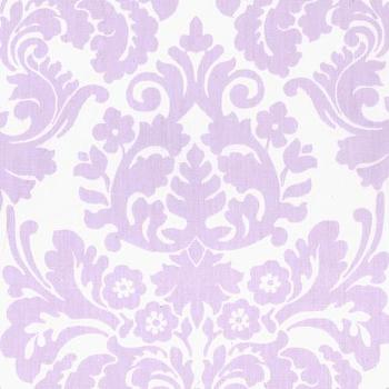 Window Treatments - Brocade Orchid Window Valance with Pom Poms I Annette Tatum Kids - lavender damask window valance, lavender brocade window valance, lavender and white damask window valance,