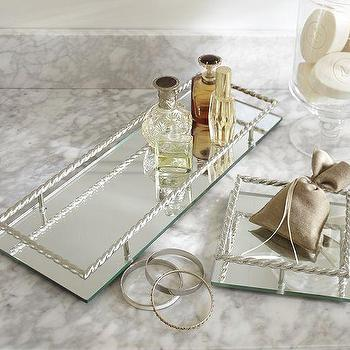 Decor/Accessories - Mirrored Braided Dresser-Top Trays | Pottery Barn - mirrored tray, mirrored vanity tray, silver mirrored dressing table tray,
