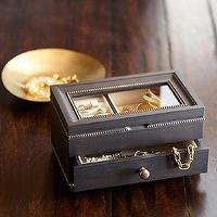 Decor/Accessories - Taylor Jewelry Box | Pottery Barn - black and gold jewelry box, black jewelry box with gold trim, distressed black jewelry box,