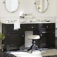 Bath - Houlton Double Sink Console | Pottery Barn - black dual sink vanity with marble counter, black dual sink console with marble counter, black dual sink vanity with carrara marble counter,