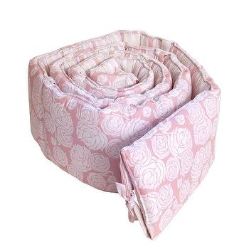 Decor/Accessories - Rose Coral Bumper I Annette Tatum Kids - pink and white rose crib bumper, pink floral crib bumper, rose patterned crib bumper,