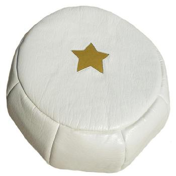 Seating - White Star Eco Mini Pouf I Annette Tatum Kids - white pouf with gold star, white mini pouf with gold star, gold and white mini pouf,