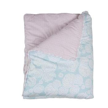 Bedding - Rose Sea Reversible Quilt I Annette Tatum Kids - blue rose quilt, pink and blue floral quilt, pink and blue reversible floral quilt,
