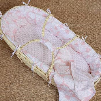 Miscellaneous - Rose Coral Moses Basket I Annette Tatum Kids - pink moses basket, pink rose moses basket, traditional pink moses basket,