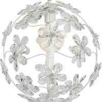 Lighting - Chloe Crystal White Chandelier I Annette Tatum Kids - white crystal chandelier, white floral chandelier, white sphere shaped chandelier with crystal flowers,