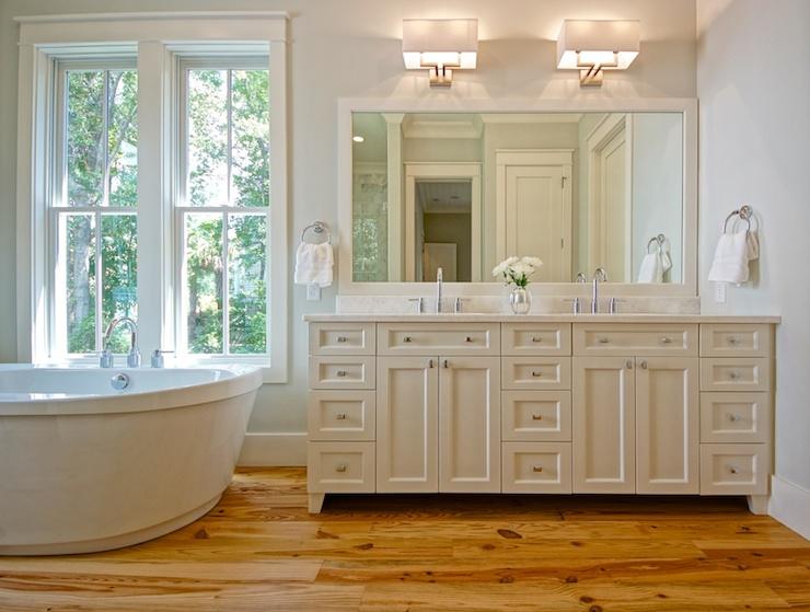 Pine hardwood floor transitional bathroom melissa lenox for Hardwood floor in bathroom