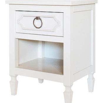 Storage Furniture - Beverly White Nightstand I Annette Tatum Kids - white nightstand, white single drawer nightstand, white hollywood regency nightstand,